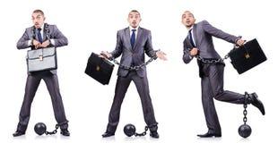 Uomo d'affari con i dispositivi d'ancoraggio su bianco Fotografia Stock Libera da Diritti