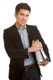 Uomo d'affari con i dispositivi di piegatura Immagini Stock Libere da Diritti