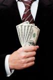 Uomo d'affari con i dollari Fotografia Stock Libera da Diritti