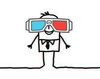Uomo d'affari con i grandi vetri 3D Immagine Stock