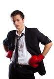 Uomo d'affari con i guanti di inscatolamento. Fotografia Stock Libera da Diritti