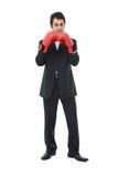 Uomo d'affari con i guanti di inscatolamento immagine stock libera da diritti