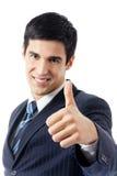 Uomo d'affari con i pollici in su, isolato Immagini Stock