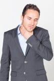 Uomo d'affari con i problemi della gola Fotografie Stock Libere da Diritti