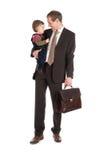 Uomo d'affari con il bambino Fotografia Stock Libera da Diritti
