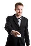 Uomo d'affari con il biglietto da visita Fotografia Stock