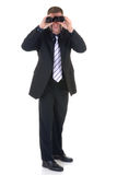 Uomo d'affari con il binocolo Fotografia Stock Libera da Diritti