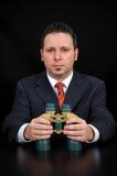 Uomo d'affari con il binocolo Immagini Stock Libere da Diritti