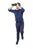 Uomo d'affari con il binocolo su una scala Fotografia Stock Libera da Diritti