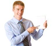 Uomo d'affari con il blocchetto per appunti Fotografia Stock