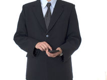 UOMO D'AFFARI con il calcolatore Fotografia Stock Libera da Diritti