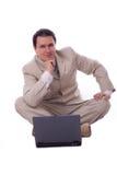 Uomo d'affari con il calcolatore Fotografie Stock Libere da Diritti