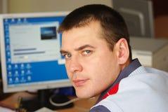 Uomo d'affari con il calcolatore Immagini Stock
