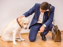 Uomo d'affari con il cane Immagini Stock Libere da Diritti