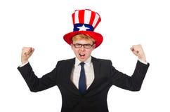Uomo d'affari con il cappello americano isolato su bianco Fotografie Stock