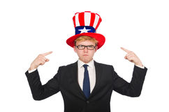 Uomo d'affari con il cappello americano isolato su bianco Immagini Stock