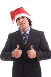 Uomo d'affari con il cappello di natale Fotografia Stock