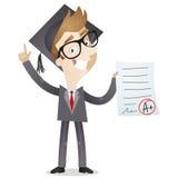 Uomo d'affari con il certificato di graduazione illustrazione vettoriale