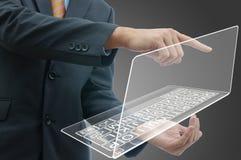 Uomo d'affari con il computer Immagini Stock Libere da Diritti