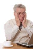 Uomo d'affari con il computer portatile Fotografia Stock Libera da Diritti