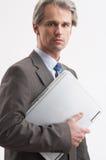 Uomo d'affari con il computer portatile Fotografia Stock