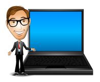 Uomo d'affari con il computer portatile royalty illustrazione gratis