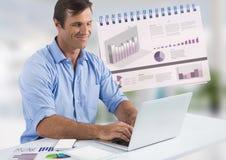 Uomo d'affari con il computer portatile allo scrittorio con i diagrammi ed i grafici Fotografie Stock Libere da Diritti