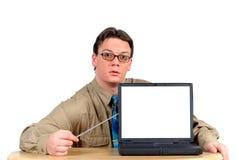 Uomo d'affari con il computer portatile, presentazione del PowerPoint Immagini Stock Libere da Diritti