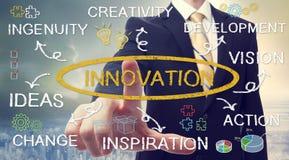 Uomo d'affari con il concetto dell'innovazione di affari Fotografie Stock