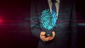Uomo d'affari con il concetto dell'ologramma del segno dell'impronta digitale e dello smartphone illustrazione vettoriale
