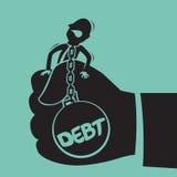 Uomo d'affari con il debito in mano della tenuta. Fotografie Stock