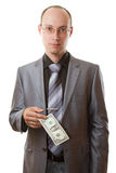 Uomo d'affari con il dollaro a disposizione Immagini Stock Libere da Diritti