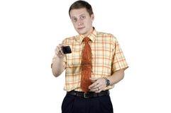 Uomo d'affari con il gesto di mani immagine stock libera da diritti