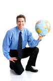 Uomo d'affari con il globo Fotografie Stock