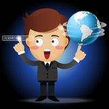 Uomo d'affari con il globo ed indicare la barra di ricerca Immagini Stock Libere da Diritti