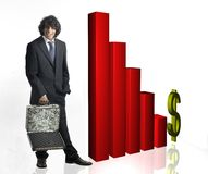 Uomo d'affari con il grafico 3d Immagine Stock