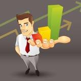 Uomo d'affari con il grafico commerciale Fotografia Stock Libera da Diritti