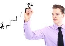 Uomo d'affari con il grafico di successo Fotografia Stock Libera da Diritti