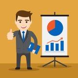 Uomo d'affari con il grafico di una statistica ascendente Fotografia Stock
