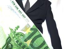Uomo d'affari con il grande EURO Fotografie Stock Libere da Diritti