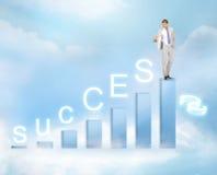 Uomo d'affari con il grande grafico 3d Immagini Stock Libere da Diritti