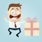 Uomo d'affari con il grande regalo Immagine Stock