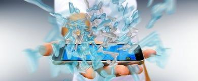Uomo d'affari con il gruppo di vetro brillante dell'avatar sopra il renderin del telefono 3D Immagine Stock Libera da Diritti