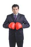Uomo d'affari con il guanto di inscatolamento Immagini Stock Libere da Diritti