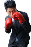 Uomo d'affari con il guantone da pugile pronto a combattere con lavoro, affare Fotografia Stock