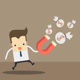 Uomo d'affari con il magnete dei soldi illustrazione vettoriale