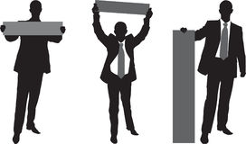 Uomo d'affari con il manifesto illustrazione vettoriale
