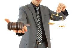 Uomo d'affari con il martelletto Fotografie Stock Libere da Diritti