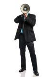 Uomo d'affari con il megafono Fotografia Stock