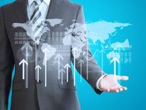 Uomo d'affari con il modello della mappa di mondo 3d Fotografia Stock